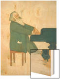 Johannes Brahms at the Piano Wood Print by Willy von Beckerath