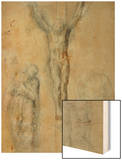 Christ on the Cross Between the Virgin Mary and Saint John () Wood Print by  Michelangelo Buonarroti