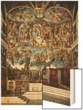 Sistine Chapel with the Retable of the Last Judgement (Fall of the Damned) Wood Print by  Michelangelo Buonarroti