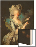 Marie Antoinette (1755-93) with a Rose, 1783 Wood Print by Elisabeth Louise Vigee-LeBrun