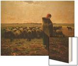 Shepherdess with Her Flock, 1863 Wood Print by Jean-François Millet