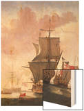 Galleon in Full Sail Wood Print by Jan Karel Donatus Van Beecq