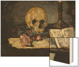 Skull and Candlestick, circa 1866 Wood Print by Paul Cézanne