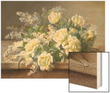 Still Life with Yellow Roses Wood Print by Raoul Victor Maurice Maucherat de Longpre