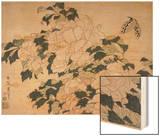 Pivoines et papillons Wood Print by Katsushika Hokusai
