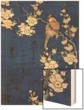 Bouvreuil et cerisier pleureur en fleur Wood Print by Katsushika Hokusai