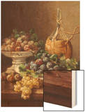 Still Life of Grapes, Plums and Wine Wood Print by Eugene Claude