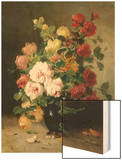 Still Life of Roses and Wallflowers Wood Print by Eugene Henri Cauchois
