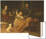 The Holy Family with the Little Bird, circa 1650 Wood Print by Bartolome Esteban Murillo