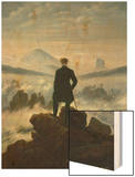 The Wanderer Above the Sea of Fog, about 1818 Wood Print by Caspar David Friedrich