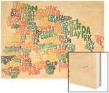 Typograhical Bronx Abstract Wood Print