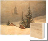 Winter Landscape with Church, 1811 Wood Print by Caspar David Friedrich