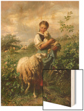 The Shepherdess, 1866 Wood Print by Johann Baptist Hofner