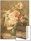 Still Life of Peonies and Roses Wood Print by Francois Rivoire