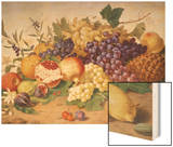 Still Life of Grapes, Pineapple, Figs and Pomegranates Wood Print by Adolf Senff