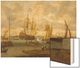 Poeple Walking at the Banks of the River Ij with Ships, 1693 Wood Print by Abraham Storck