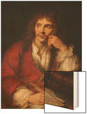 Molière à sa table de travail Wood Print by Antoine Coypel