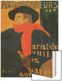 Aristide Bruant, Singer and Composer, at Les Ambassadeurs on the Champs Elysees, Paris, 1892 Wood Print by Henri de Toulouse-Lautrec