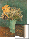 Vase of Lilacs, Daisies and Anemones, c.1887 Wood Print by Vincent van Gogh