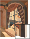 Large Window with a Seat, from 'Relais', C.1920S (Colour Litho) Wood Print by Edouard Benedictus
