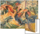 Horse and Rider and Buildings, 1914 Wood Sign by Boccioni Umberto