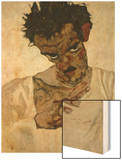 Egon Schiele, Self-Portrait with Bent Head, Study for Eremiten (Hermits) Wood Print by Egon Schiele