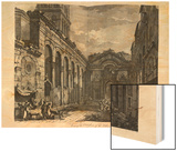 View of the Peristyle of the Palace of Diocletian (245-313), Roman Emperor 284-305, at Split Wood Print by Robert Adam