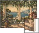 Mediterranean Terrace Wood Print by Sung Kim
