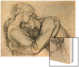 Study for 'The Blessed Damozel', C.1876 (Graphite on Paper) Wood Print by Dante Gabriel Rossetti
