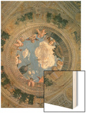 Trompe L'Oeil Oculus in the Centre of the Vaulted Ceiling of the Camera Picta or Camera Degli Sposi Wood Print by Andrea Mantegna