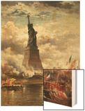 The Unveiling of the Statue of Liberty, Enlightening the World, 1886 Wood Print by Edward Moran