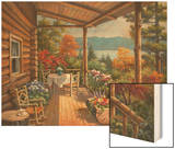 Log Cabin Covered Porch Wood Print by Sung Kim