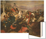 The Battle of Poitiers, 25th October 732, Won by Charles Martel (688-741) 1837 Wood Print by Charles Auguste Steuben