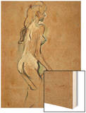 Nude Girl, 1893 Wood Print by Henri de Toulouse-Lautrec