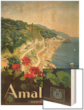 Poster Advertising the Amalfi Coast Wood Print by Mario Borgoni