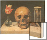 Vanitas Still Life with a Tulip, Skull and Hour-Glass Wood Print by Philippe De Champaigne