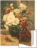 Still Life of Peonies and Wallflowers Wood Print by Eugene Henri Cauchois