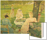 Family in the Orchard, 1890 Wood Print by Theo van Rysselberghe
