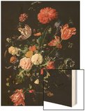 Flowers in a Glass Vase, C.1660 Wood Print by Jan Davidsz. de Heem