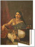 Young Woman with a Veena Wood Print by Raja Ravi Varma