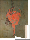The Red Head, circa 1915 Wood Print by Amedeo Modigliani