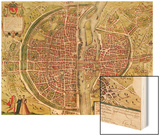 "Paris Map from ""Civitates Orbis Terrarrum"" by Georg Braun and Franz Hogenbergh, French, 1572-1617 Wood Print by Georg Braun"