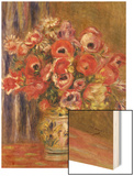 Vase of Tulips and Anemones, circa 1895 Wood Print by Pierre-Auguste Renoir