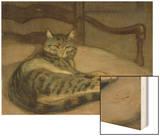 Chat sur un fauteuil Wood Print by Théophile Alexandre Steinlen