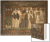 Emperor Justinian I and His Retinue of Officials, Soldiers and Clergy, circa 547 AD Wood Print