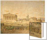 Die Akropolis Von Athen Zur Zeit des Perikles 444 V.Chr, 1851 Wood Print by Ludwig Lange