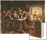 The Signing of the Mayflower Compact, c.1900 Wood Print by Edward Percy Moran