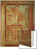 Panel from Cubiculum from the Bedroom of the Villa of P Fannius at Boscoreale, Pompeii, C.50-40 BC Wood Print