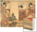 Japanese Women Reading and Writing (Colour Woodblock Print) Poster by Katsukawa Shunsho