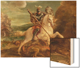 St. George Slaying the Dragon Wood Print by Hans von Aachen